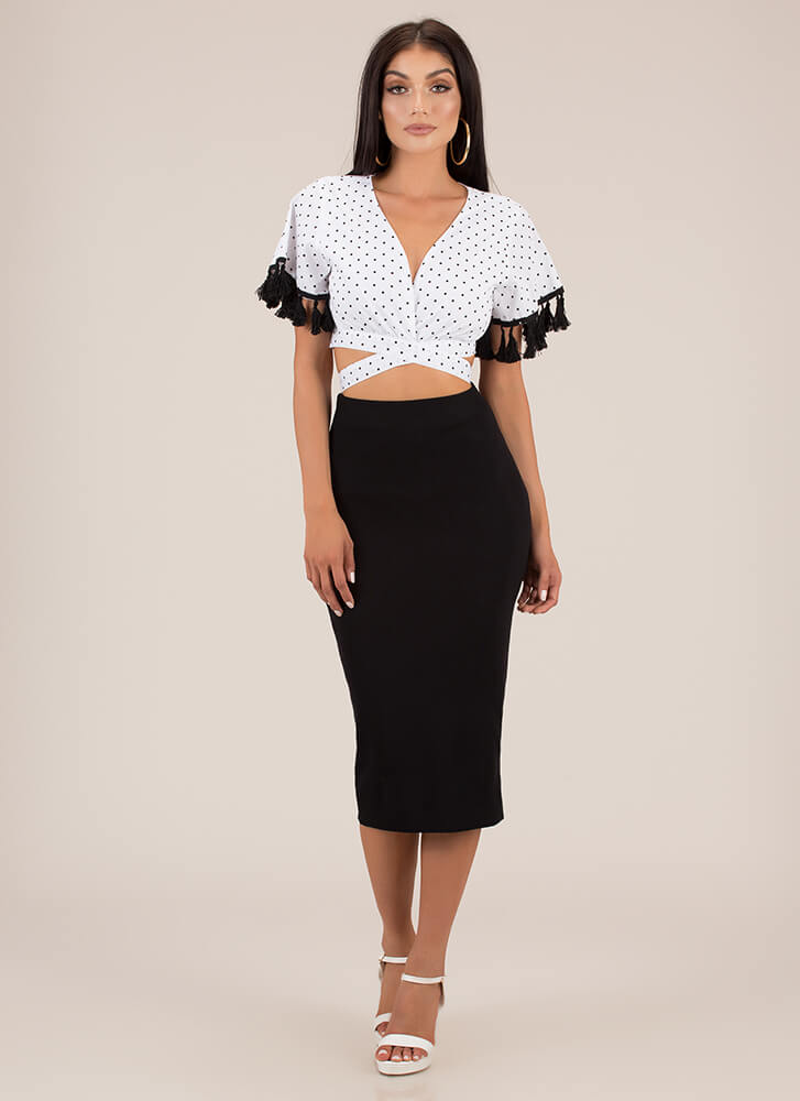 Polka Dot Party Tied Tassel Crop Top BLACKWHITE