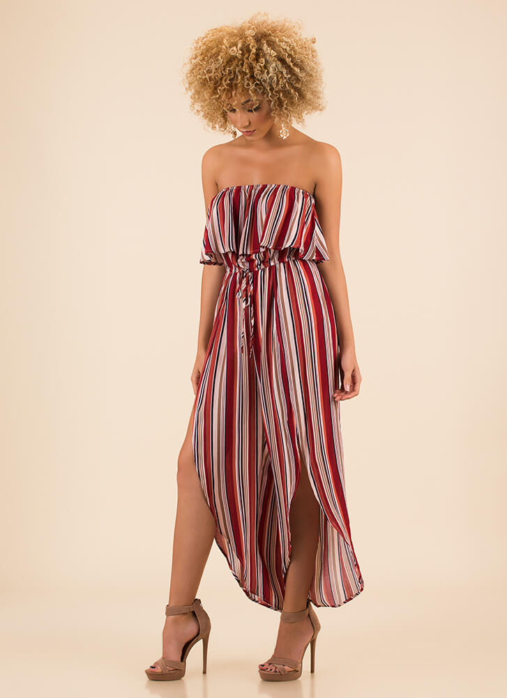 Vacation Spot Strapless Striped Jumpsuit RED (Final Sale)