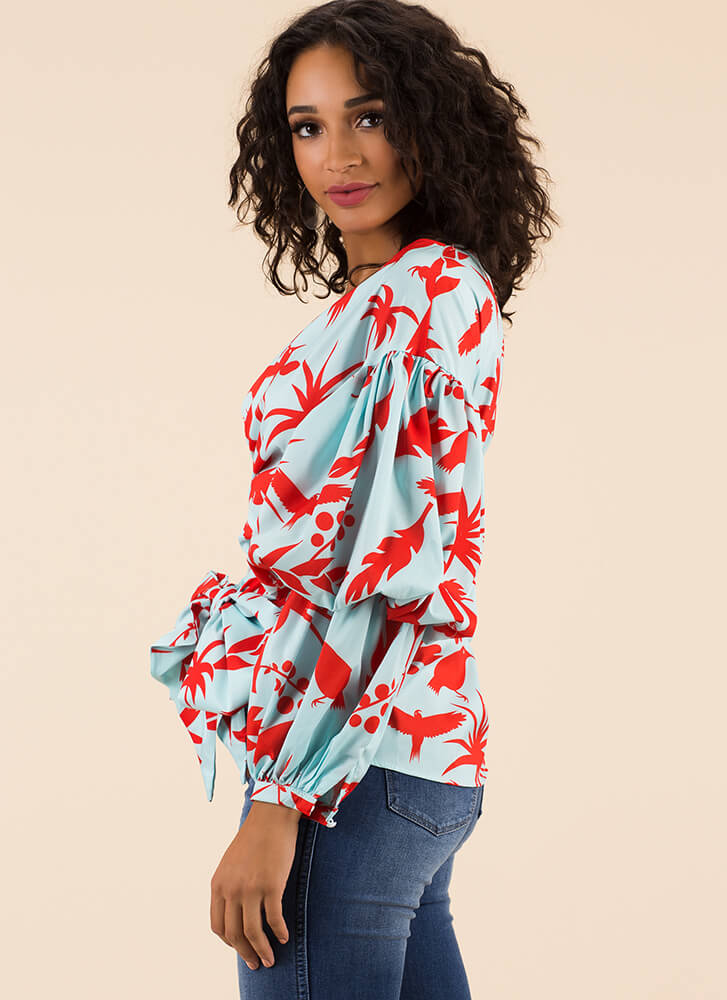 Take It Tropical Wrapped Puff Sleeve Top MINT