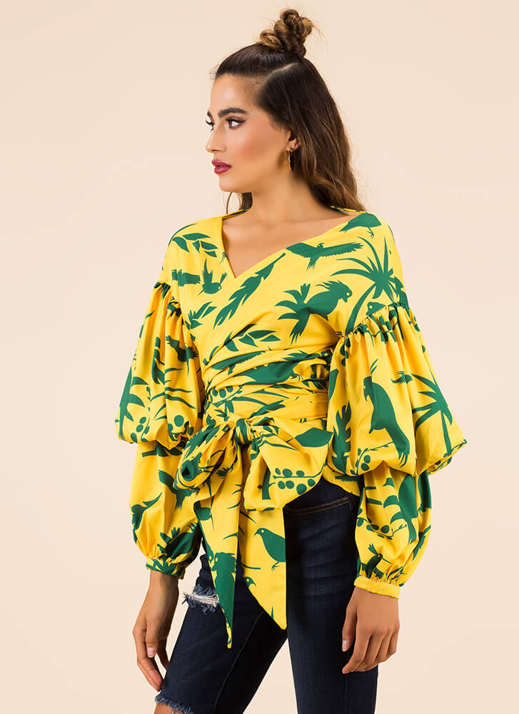 Take It Tropical Wrapped Puff Sleeve Top YELLOW
