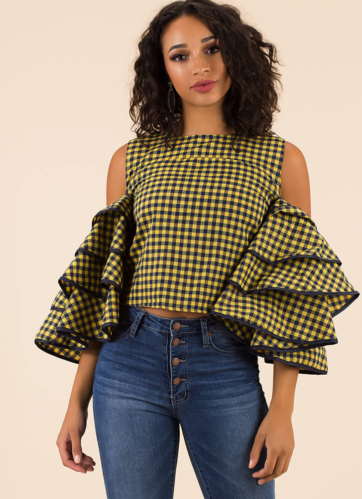 Drama For Your Mama Gingham Top YELLOW