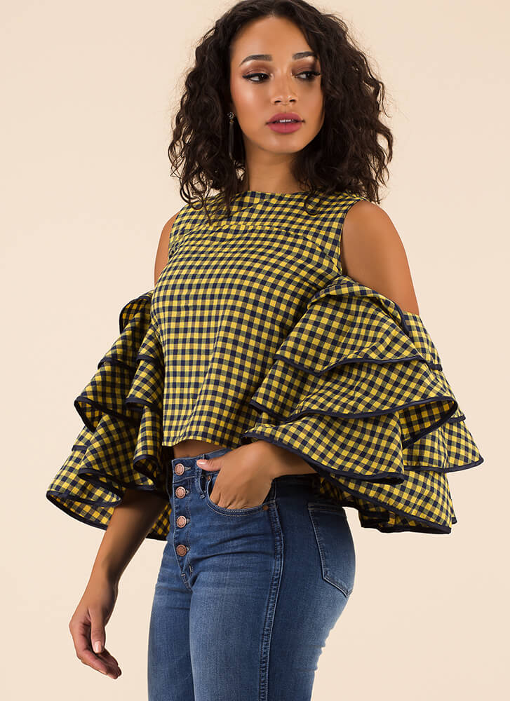 Drama For Your Mama Gingham Top YELLOW (Final Sale)