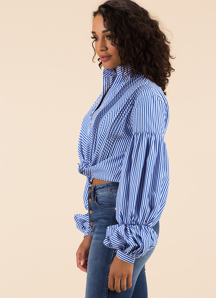 She's Drama Striped Puffy Sleeve Top BLUE