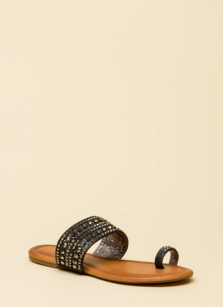 What A Gem Jeweled Slip-On Sandals BLACK