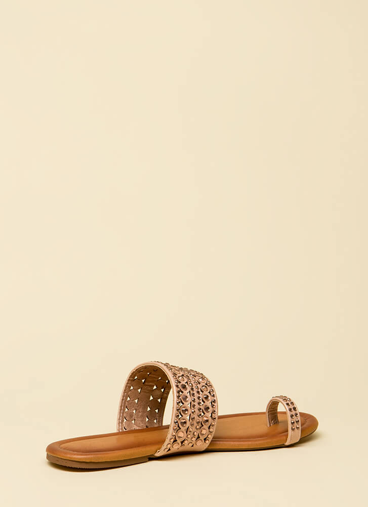 What A Gem Jeweled Slip-On Sandals ROSEGOLD
