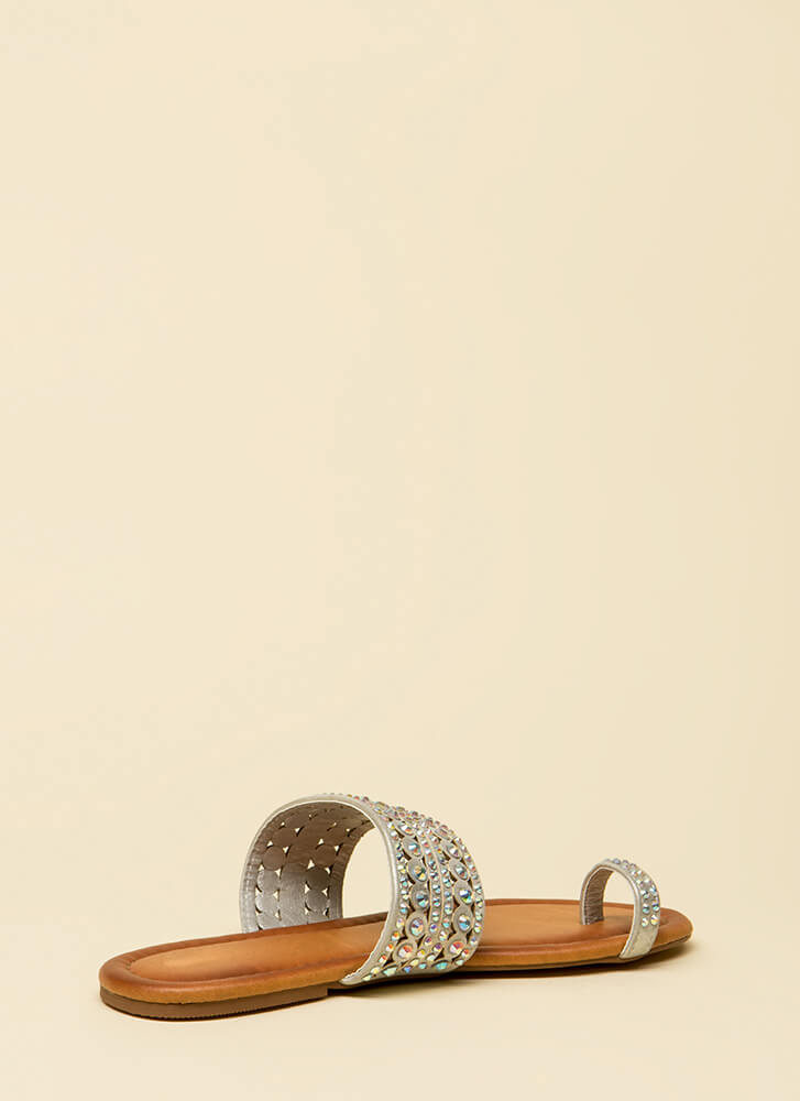 What A Gem Jeweled Slip-On Sandals SILVER
