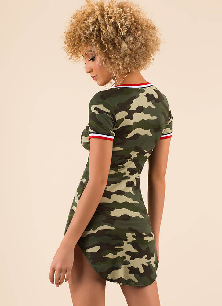Corps Strength Striped Trim Camo Dress CAMO