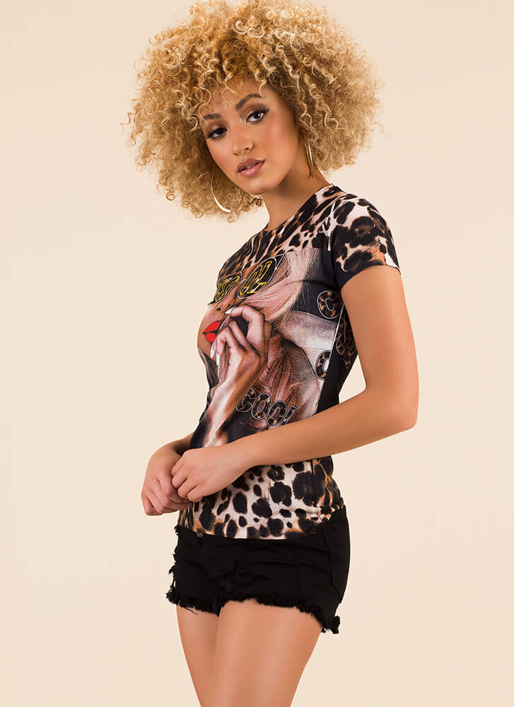 Stay Cool Leopard Girl Graphic Tee LEOPARD