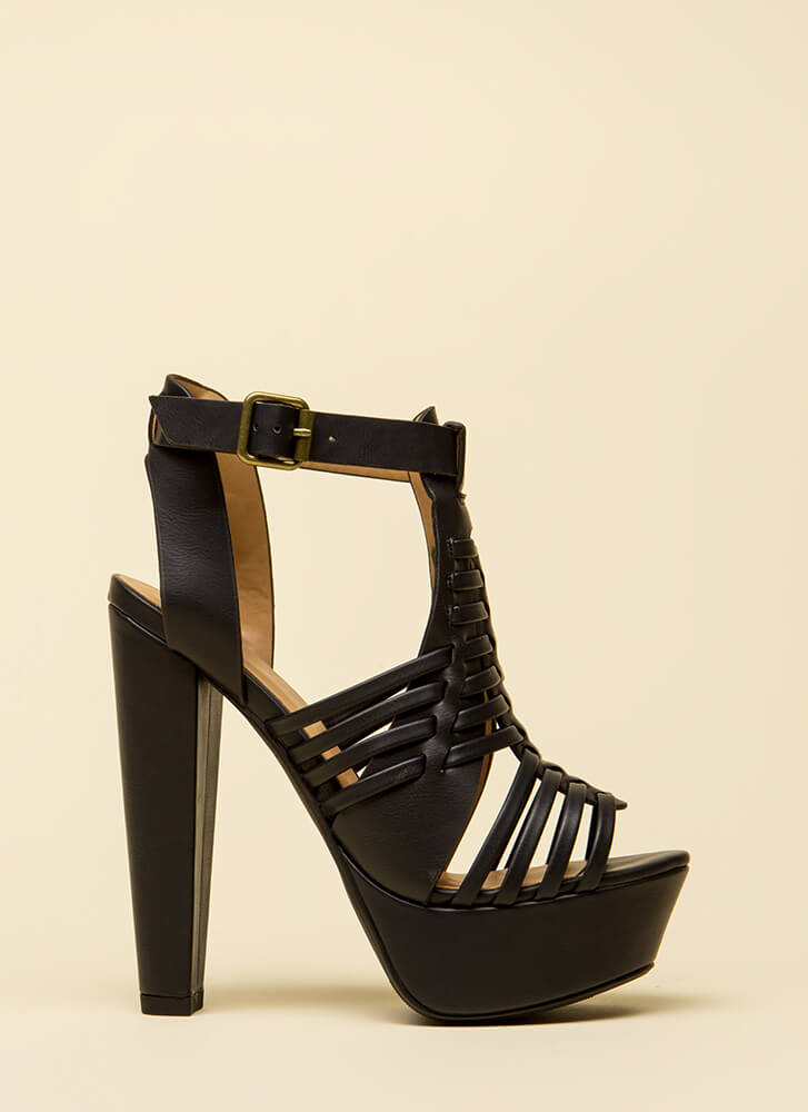 Weave Me Be Chunky Caged Platforms BLACK