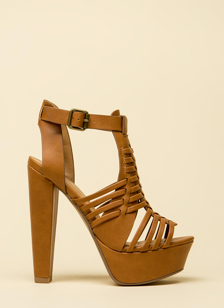 Weave Me Be Chunky Caged Platforms TAN