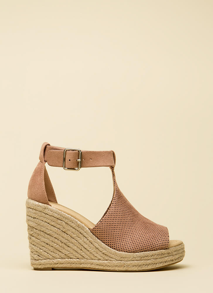 Stroll Along Perforated Peep-Toe Wedges DUSTYMAUVE