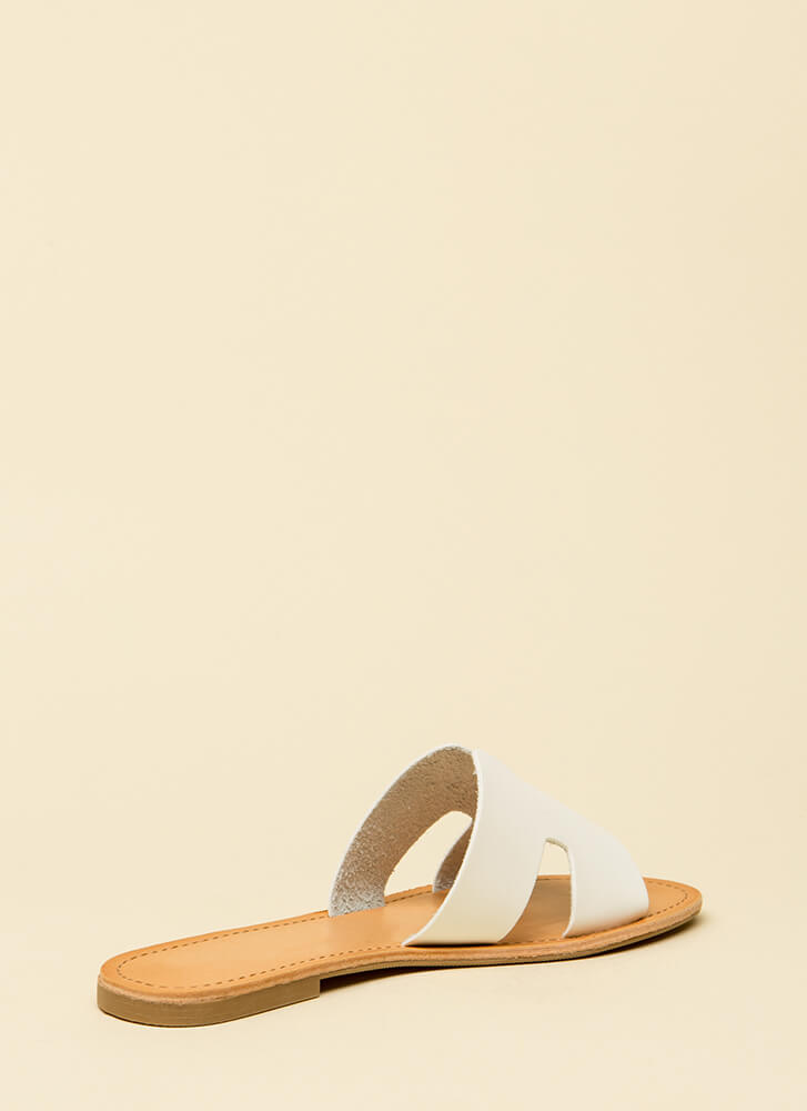 Slide Into My DM's Faux Leather Sandals WHITE