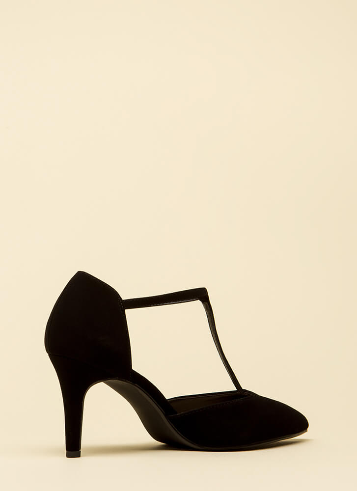 To A T-Strap Short Pointy Heels BLACK
