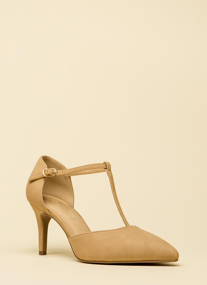 To A T-Strap Short Pointy Heels NATURAL