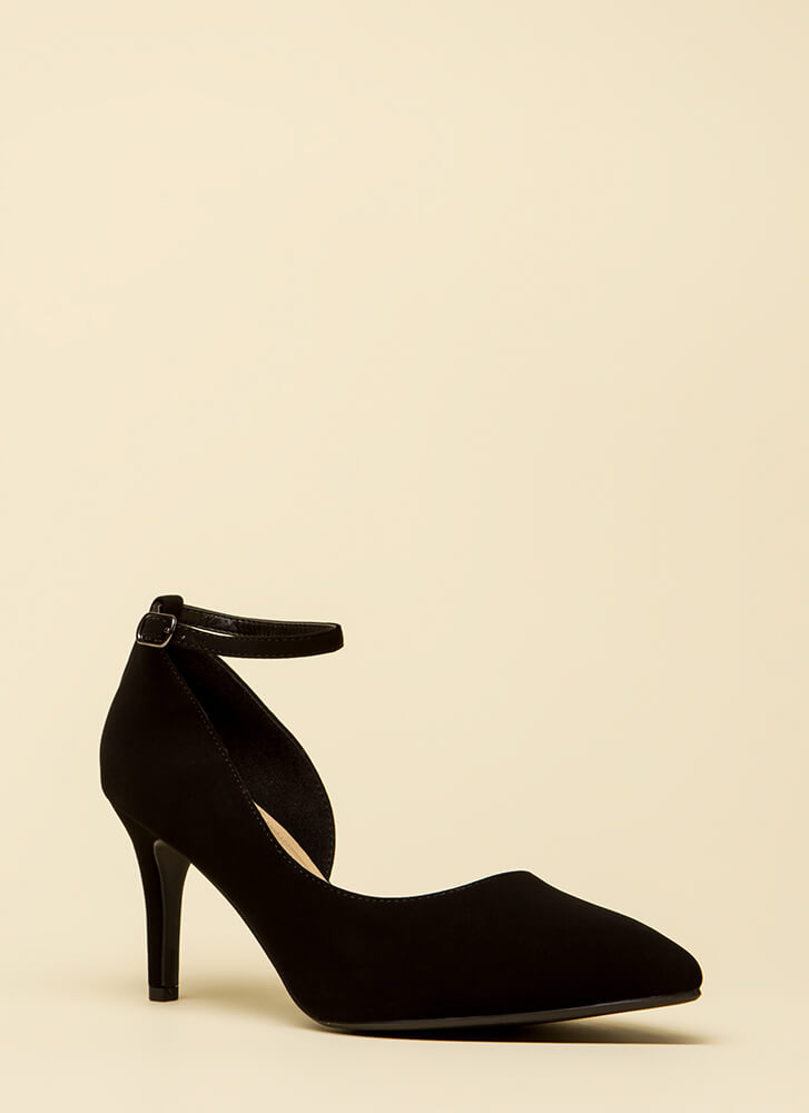 Partly To Blame Short Faux Nubuck Heels BLACK