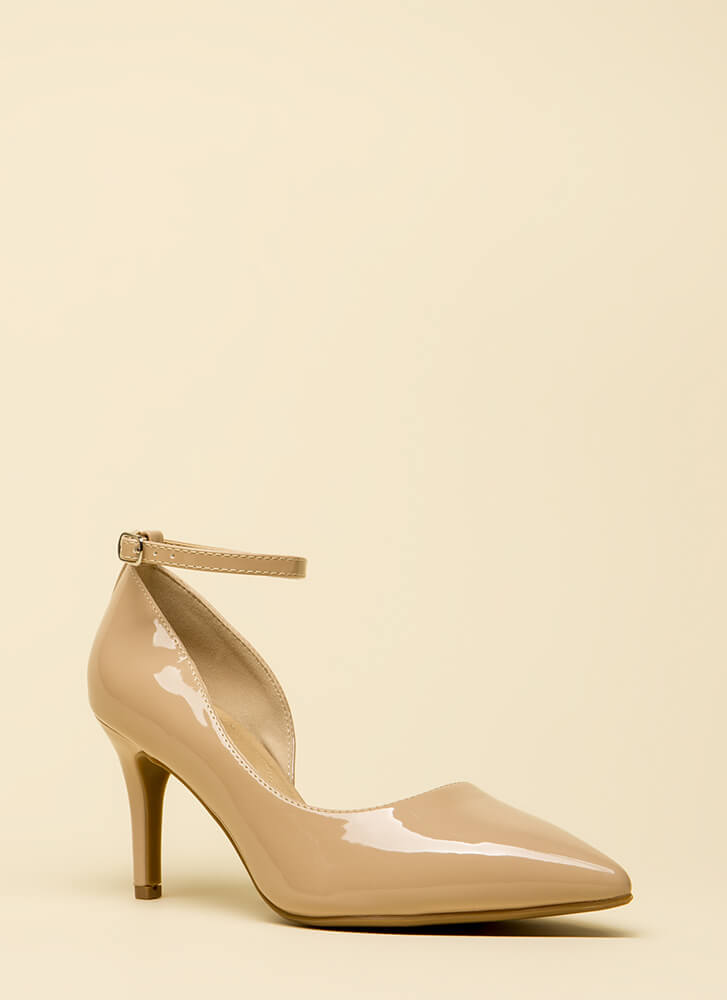 Partly To Blame Short Faux Patent Heels DKBEIGE