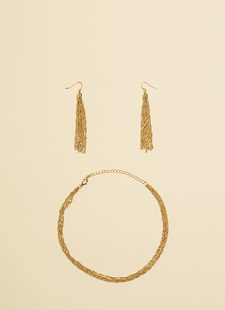 In Chains Choker And Tassel Earring Set GOLD