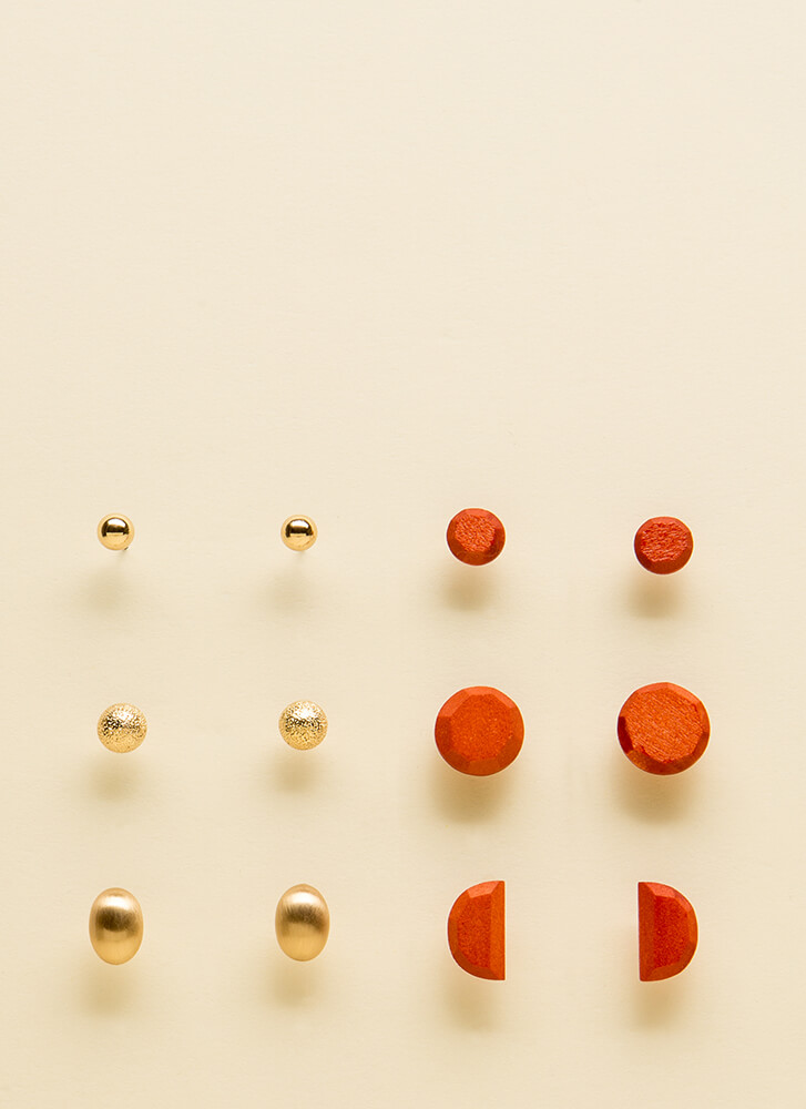 Mix Match And Magic Stud Earring Set GOLDORANGE