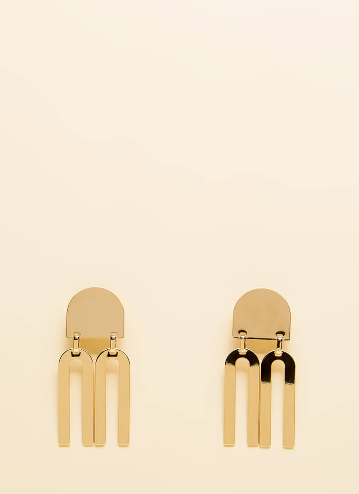 Go Fork Yourself Shiny Plate Earrings GOLD