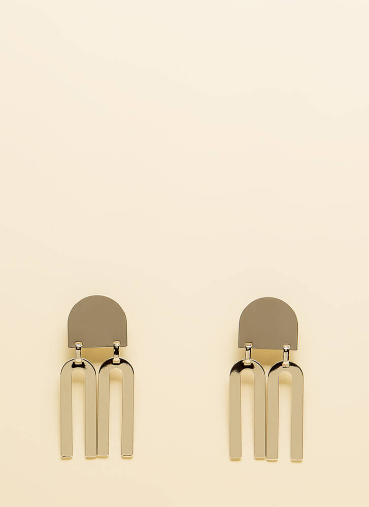 Go Fork Yourself Shiny Plate Earrings SILVER