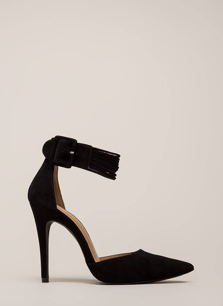 Hit The Right Cords Pointy Heels BLACK