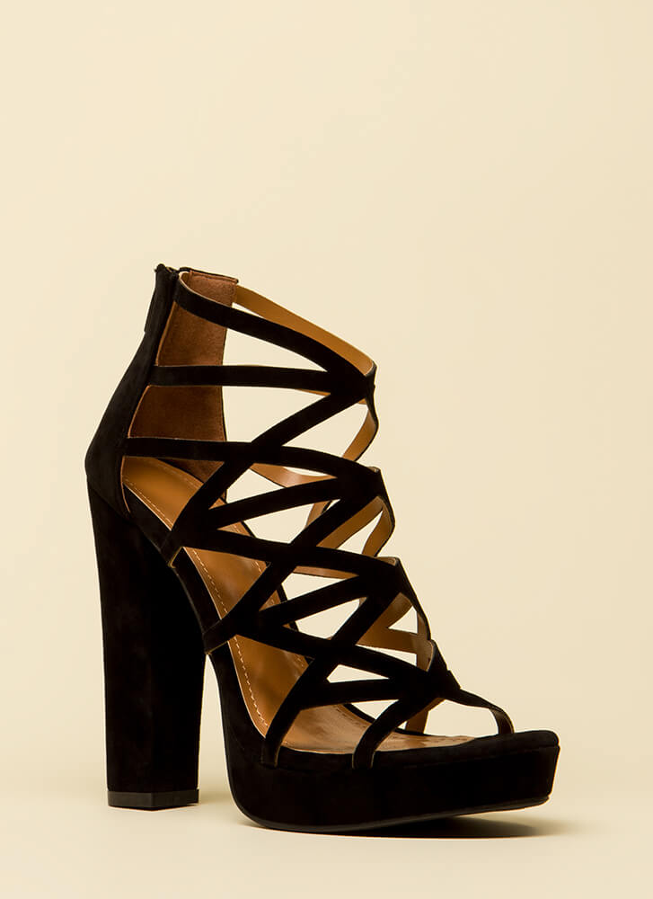 Better Angle Chunky Caged Cut-Out Heels BLACK