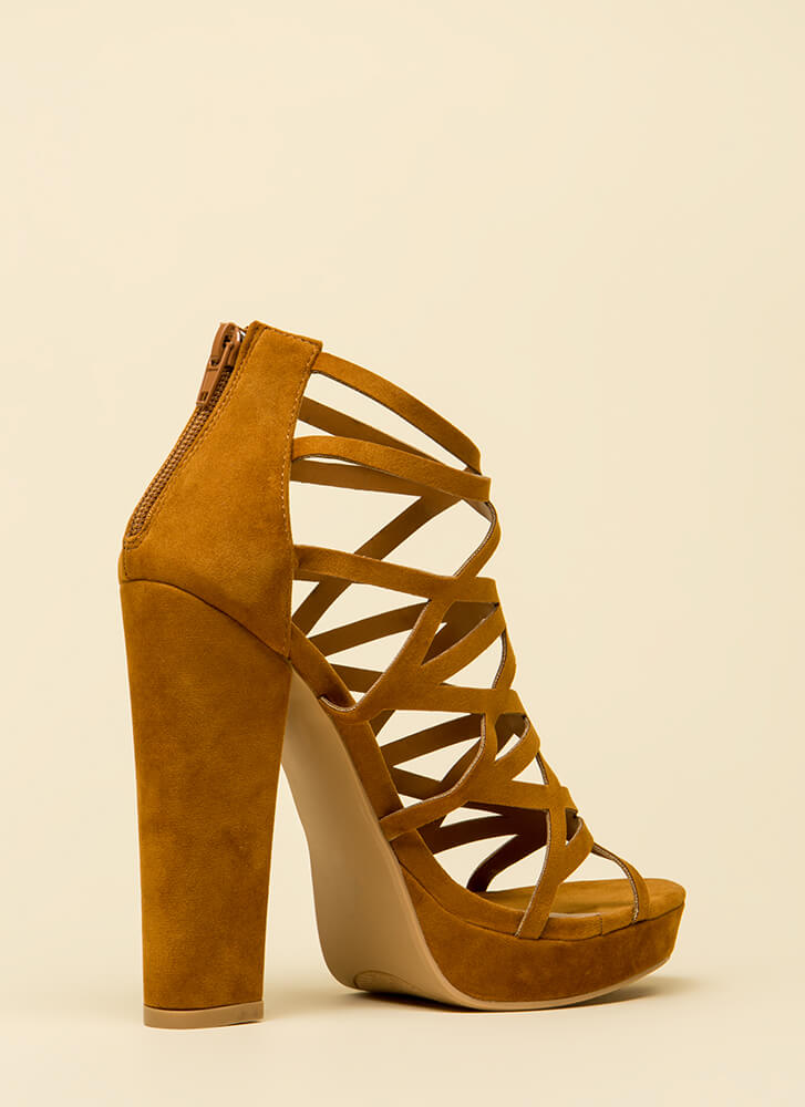Better Angle Chunky Caged Cut-Out Heels CHESTNUT