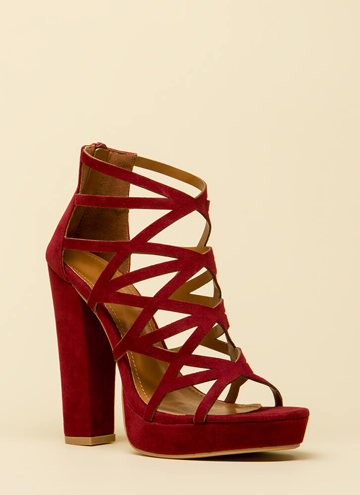 Better Angle Chunky Caged Cut-Out Heels WINE