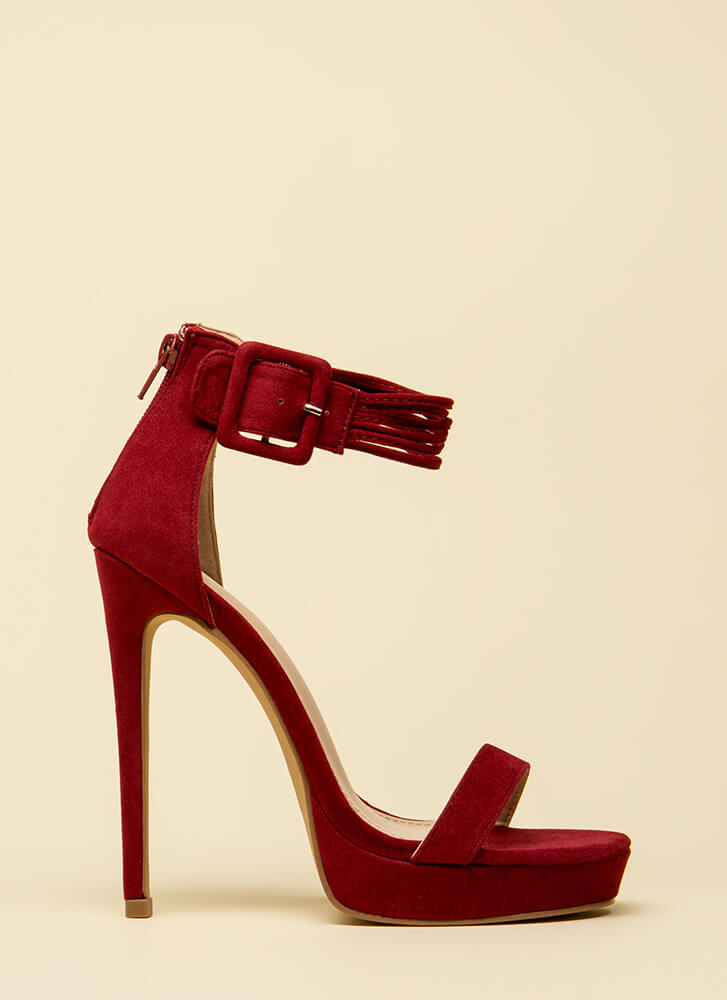 Cord Strength Ankle Strap Platforms WINE