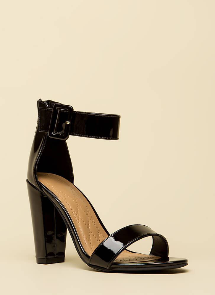 Feels Good Chunky Faux Patent Heels BLACK