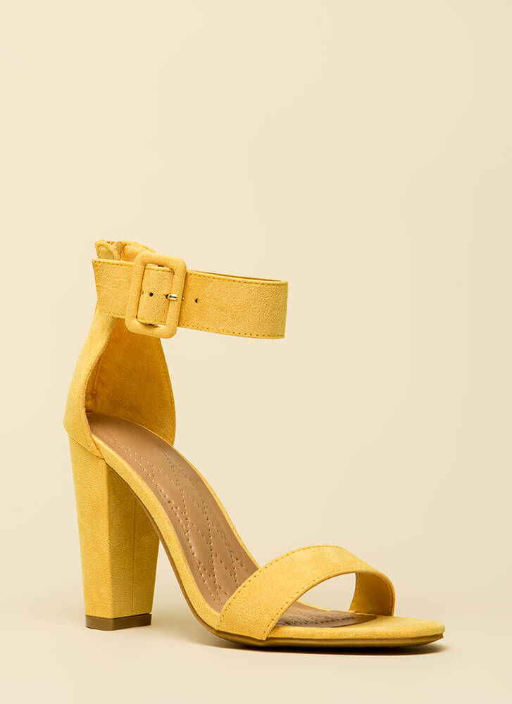 Feels Good Chunky Faux Suede Heels YELLOW