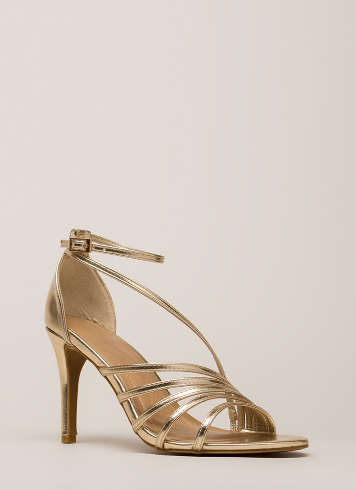 Strap Happy Metallic Asymmetrical Heels GOLD