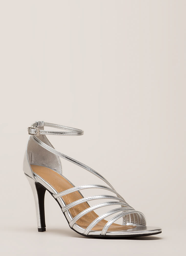 Strap Happy Metallic Asymmetrical Heels SILVER