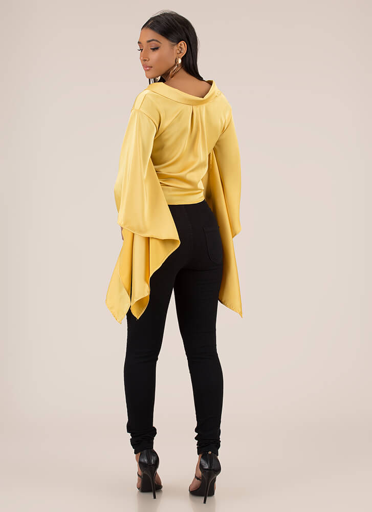 Winging It Collared Satin Blouse MUSTARD
