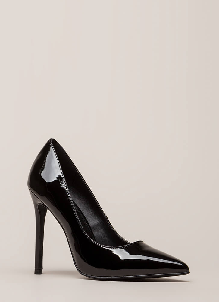Lookin' Sharp Pointy Faux Patent Pumps BLACK