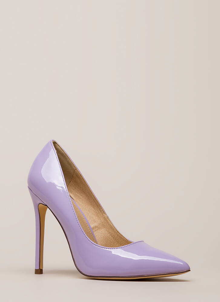 Lookin' Sharp Pointy Faux Patent Pumps LILAC