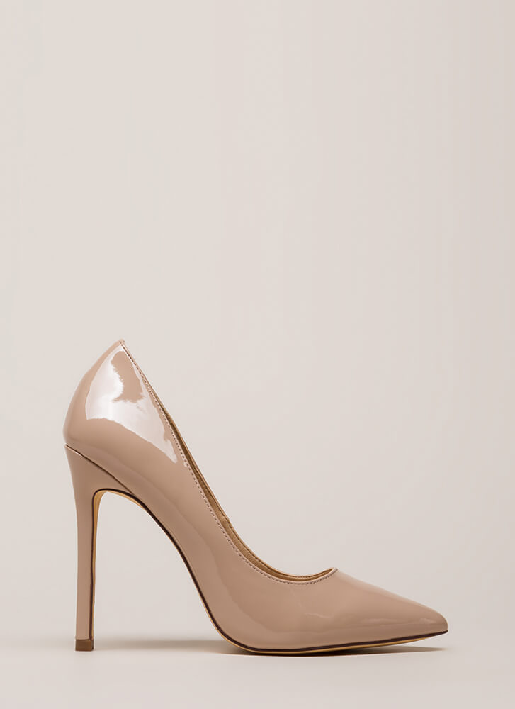 Lookin' Sharp Pointy Faux Patent Pumps NUDE