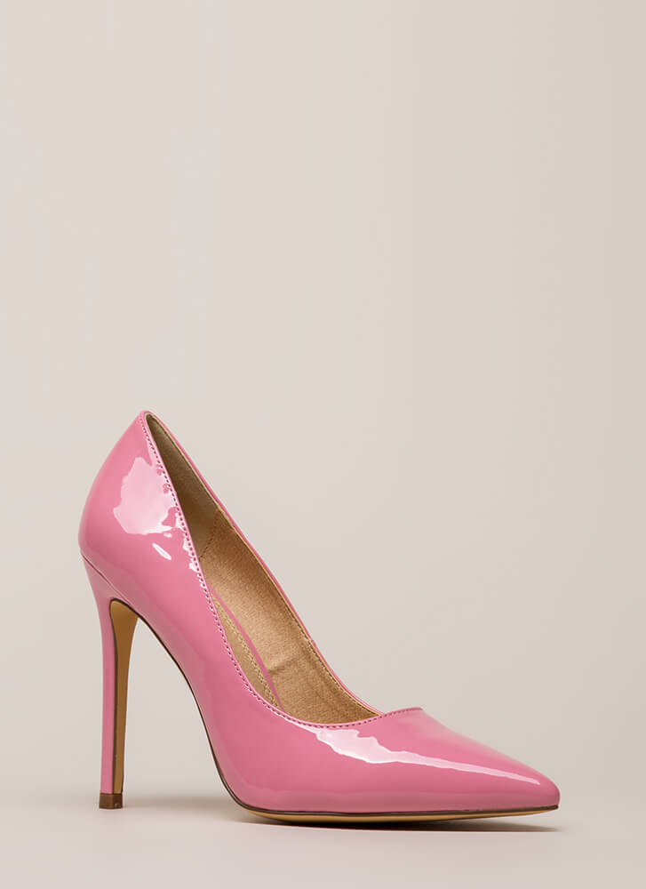 Lookin' Sharp Pointy Faux Patent Pumps PINK