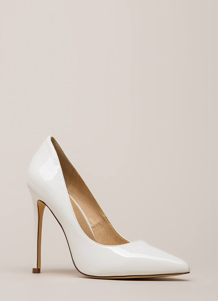 Lookin' Sharp Pointy Faux Patent Pumps WHITE