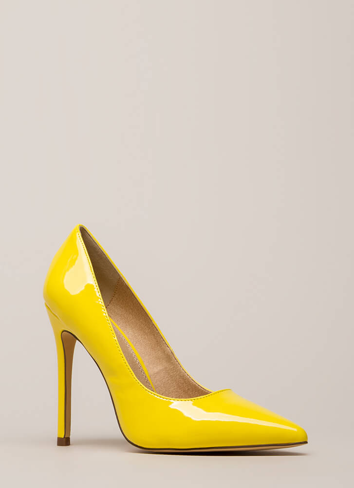 Lookin' Sharp Pointy Faux Patent Pumps YELLOW
