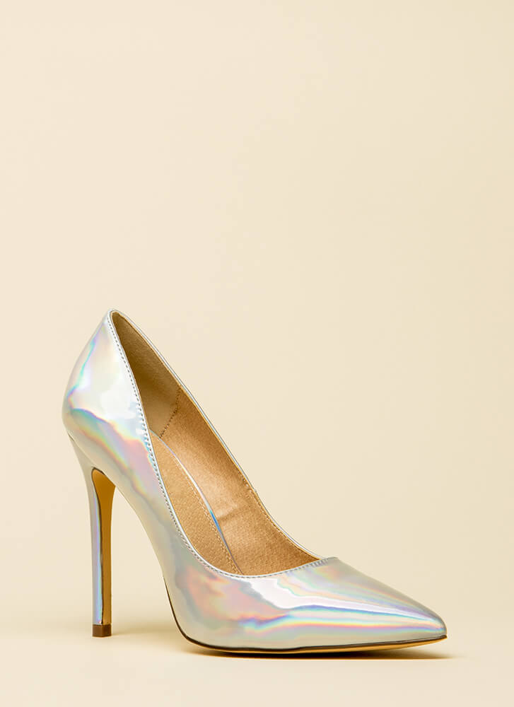 Lookin' Sharp Pointy Holographic Pumps HOLOGRAM