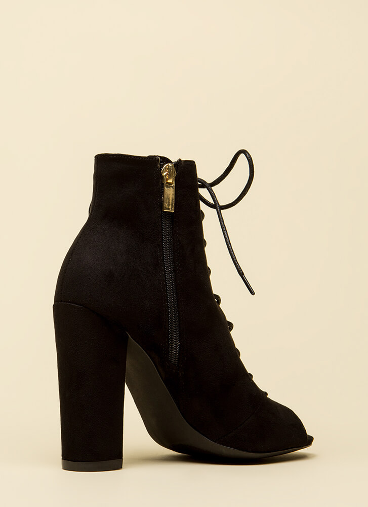 Hi Fashion Chunky Lace-Up Booties BLACK