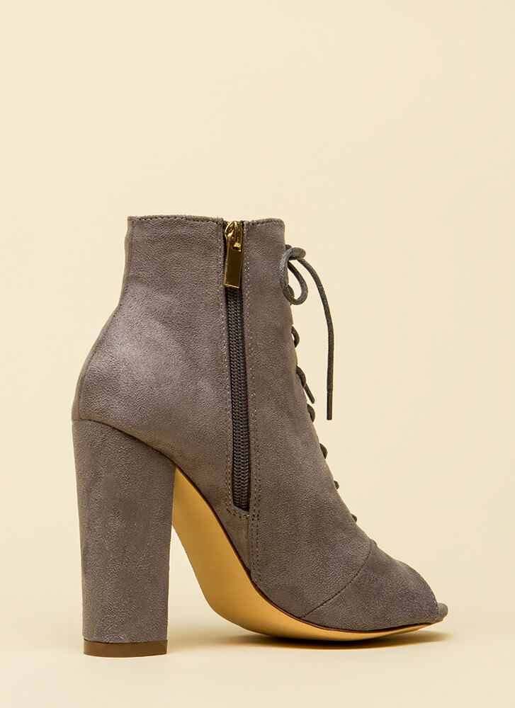 Hi Fashion Chunky Lace-Up Booties GREY
