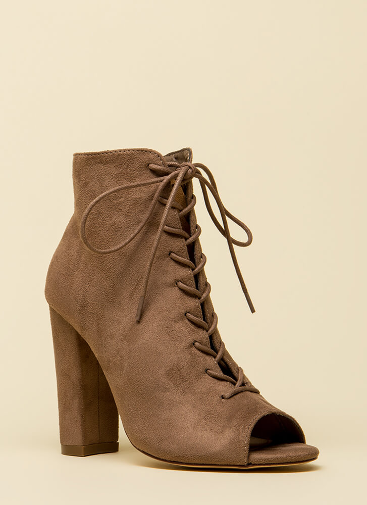 Hi Fashion Chunky Lace-Up Booties TAUPE
