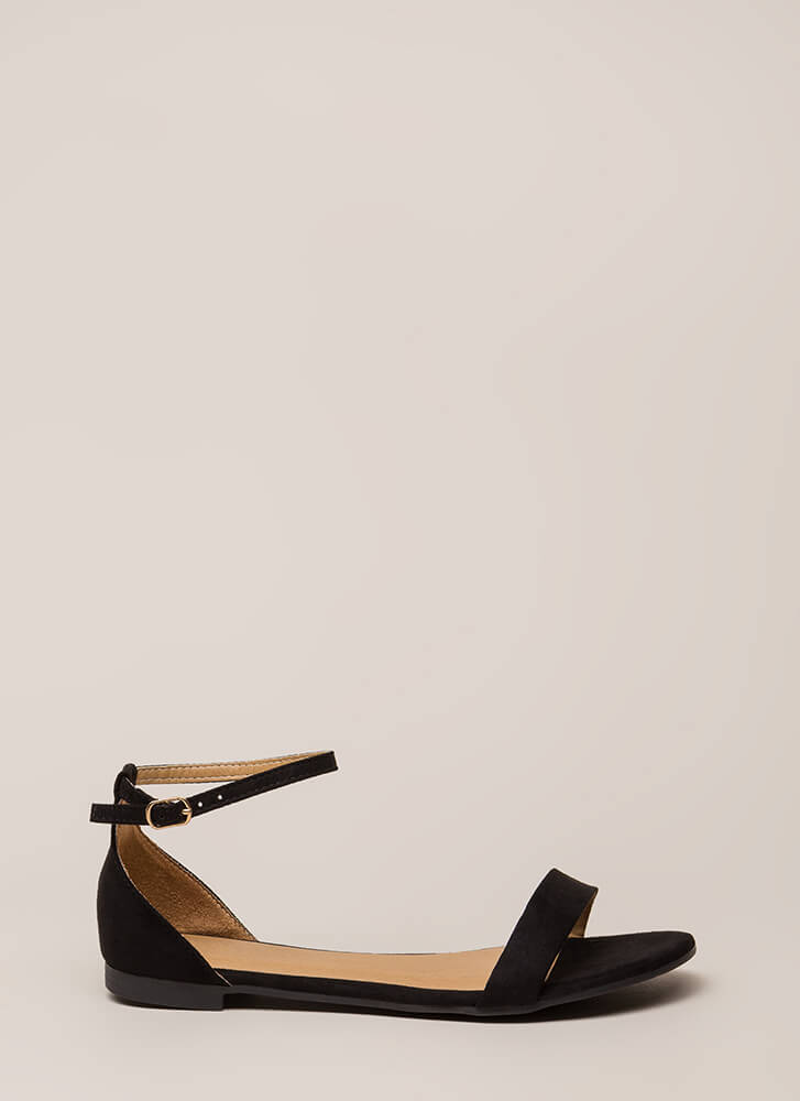 Splendid Faux Suede Ankle Strap Sandals BLACK