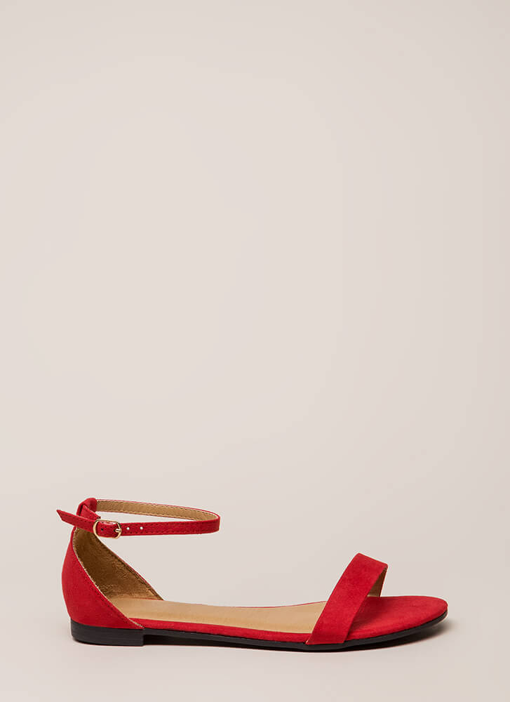 Splendid Faux Suede Ankle Strap Sandals RED