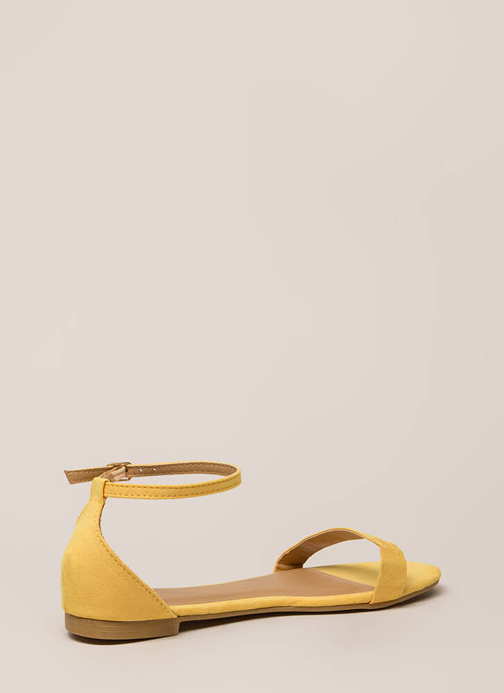 Splendid Faux Suede Ankle Strap Sandals YELLOW