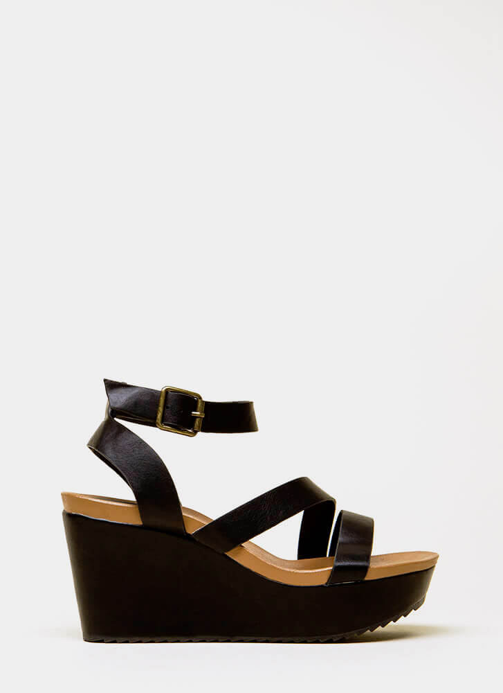 Gotta Have It Faux Leather Wedges BLACK