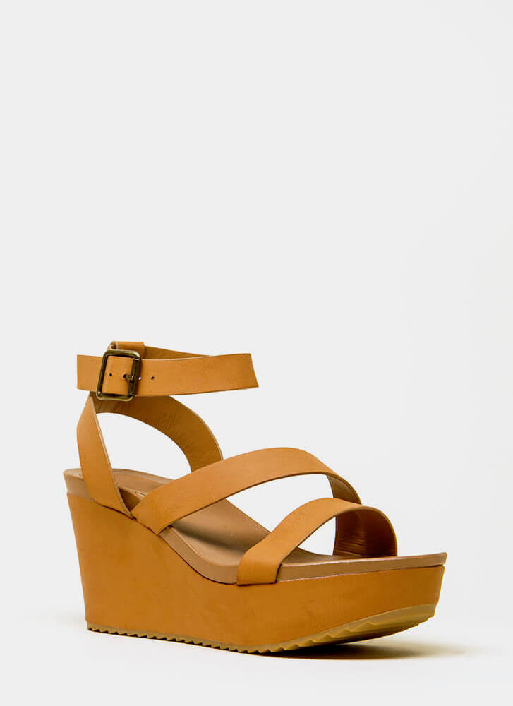 Gotta Have It Faux Leather Wedges TAN