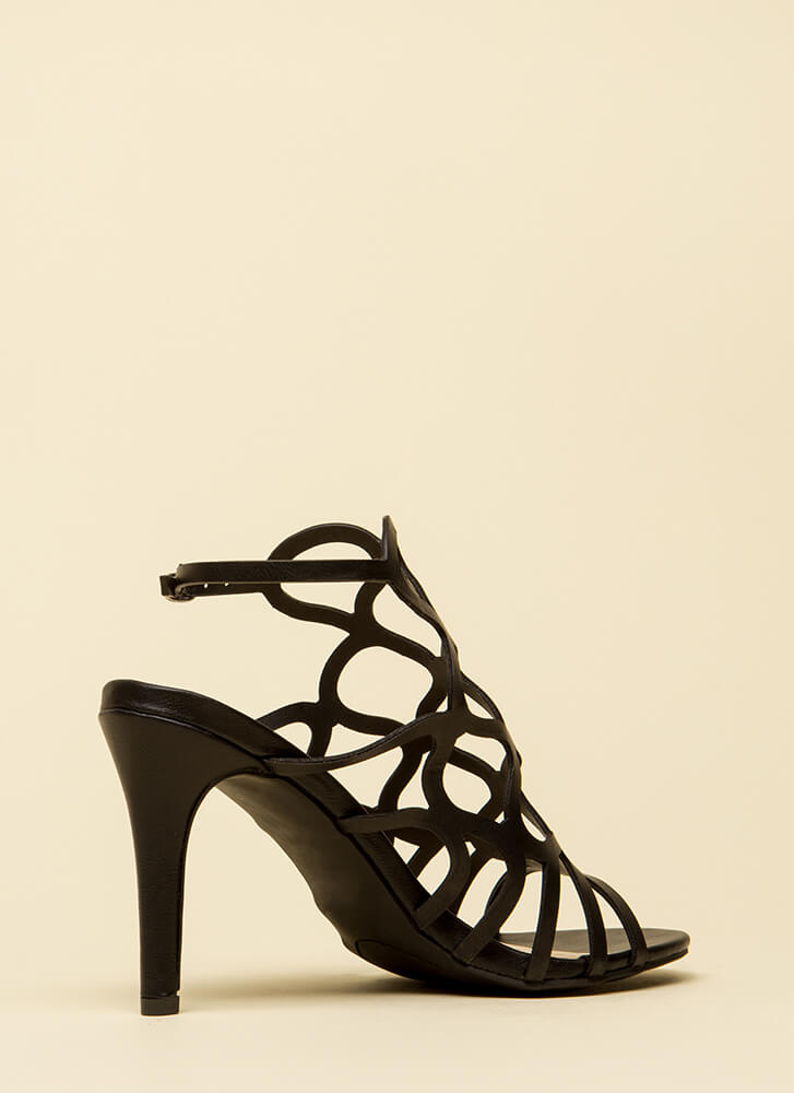 Oh Honey Cut-Out Faux Leather Heels BLACK